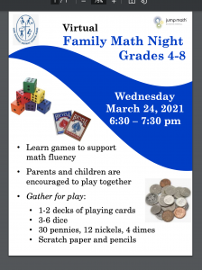 OLR Virtual Family Math Nights-March 23, 24, 2021 @ 6:30-7:30 pm